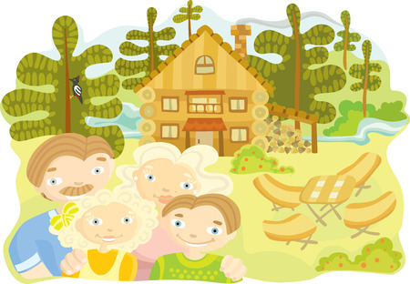 large wooden house for a family in the country Vector