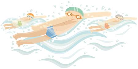 yarışma: Su rekabet üç sporcu yüzücüler
