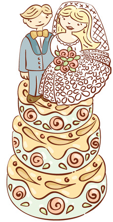 happening: big wedding cake with figures of bride and groom Illustration