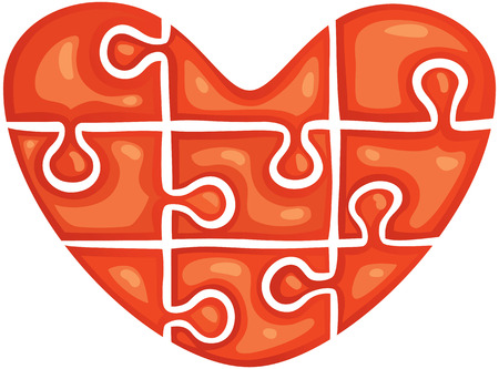 puzzle heart: red puzzle in the shape of heart