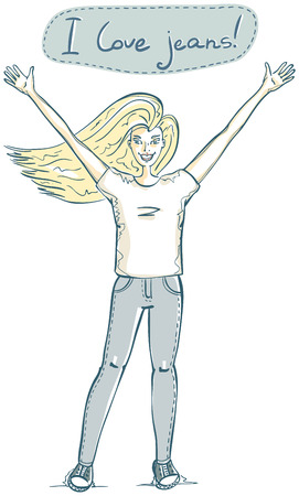 aucasian: happy young blond woman and inscription i love jeans