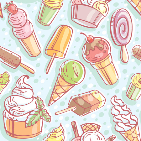ice lolly: color seamless ice cream pattern. Vector, illustration Illustration