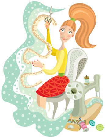 seamstress: cute woman seamstress at her favorite work Illustration