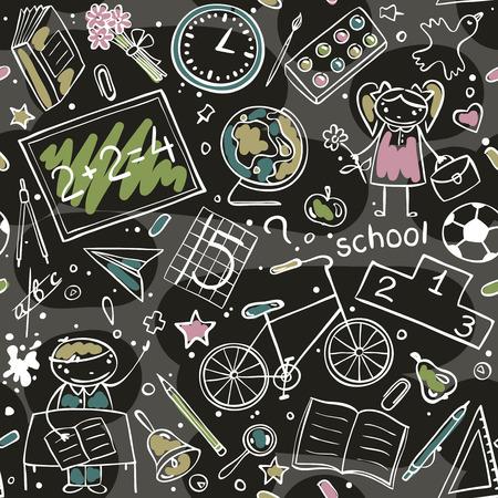 cartoon clock: seamless cartoon  school pattern on black background