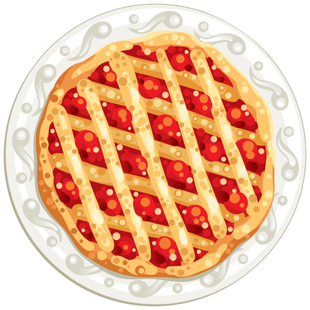 white plate: tasty round pie on the white plate Illustration