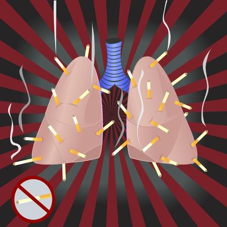 sigaretta: I polmoni stanno fumando un sacco di sigarette Vettoriali