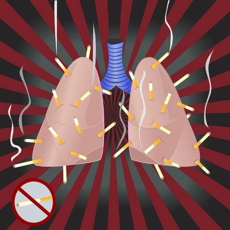 Lungs are smoking a lot of cigarettes Vector