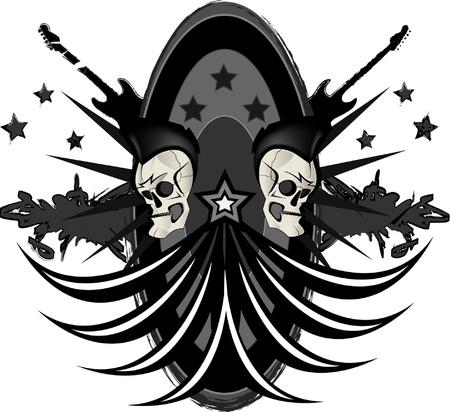Rock n roll emblem with sculls Vector