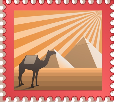 camel post: postmark with pyramids of Egypt and camel