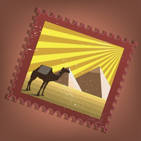camel post: Vector postmark with pyramids of Egypt in grunge retro style