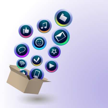 Social media icons are flying out from a paper box Stock Vector - 12487143