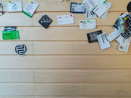 TALLINN, ESTONIA - MAY 2018 - A large number of business cards a Editorial
