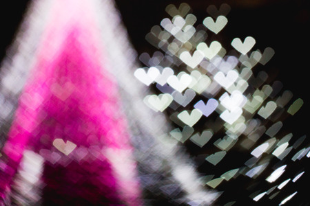 The bokeh of heart shape from the beautiful colourful light deco