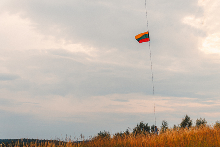 a man holding a Lithuanian flag on a cable aimed at the sky in the summer in a field.