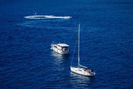 Beautiful aerial view of the aqua blue sea water boat trip,