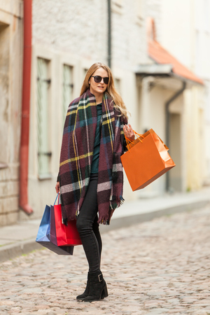 Glamor woman on shopping trip Stock Photo
