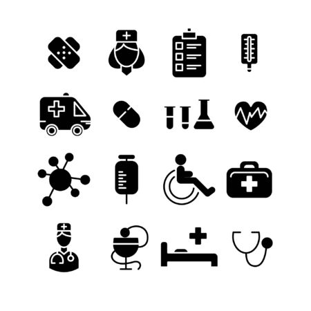 Line medical icons set, flat design symbols for website, business, infographic, mobile concepts and web apps