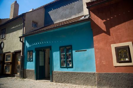 Former home of Franz Kafka on the Golden Lane inside Prague Castle, Czech Republic.