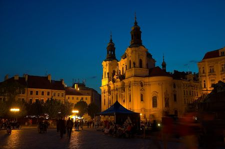 square: Old Town Square at night