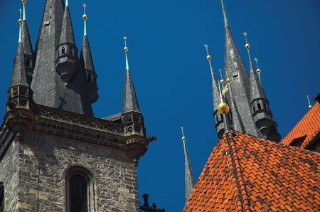 Detail of Church of Our Lady of Tyn in Prague Old City Stock Photo