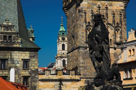 statute: Statute on Charles Bridge in Prague. Stock Photo
