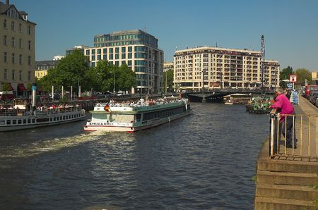 Spree river in Berlin with tourst boats.