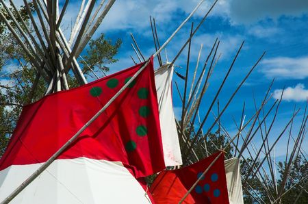 A row of plains indian teepees in North America. Stock Photo