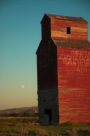 Long abandoned grain elevator in the badlands of the great plains.