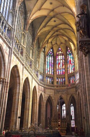 Looking interior of St. Vituss cathedral in Prague Castle.