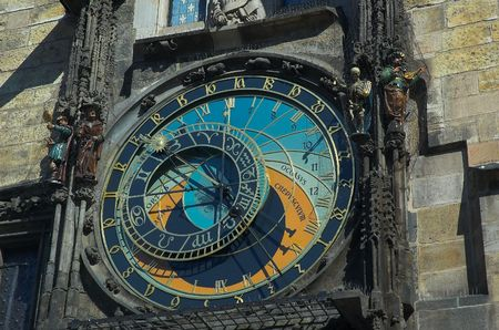 The famous astronomical clock is the Old-Town Hall clock in Prague, also known as the Prague Orloj. The clock was completed in 1410. The four figures are set in motion at the hour, with Death represented by a skeleton striking the time. On the hour there  Imagens