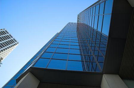 Skyscrapers towering over Calgary Alberta Canada. Stock Photo