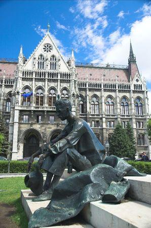 communists: Attila Jozsef monument at Hungarian Parliament Stock Photo