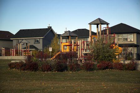 suburban: Playground in fall in new suburban community.
