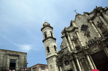 blockade: Detail of famous cathedral in old Havana.