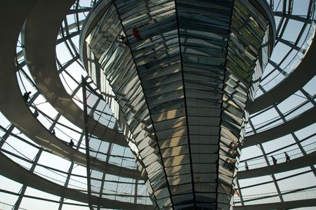 Glass dome on top of the Reichstag building in Berlin, Germany.
