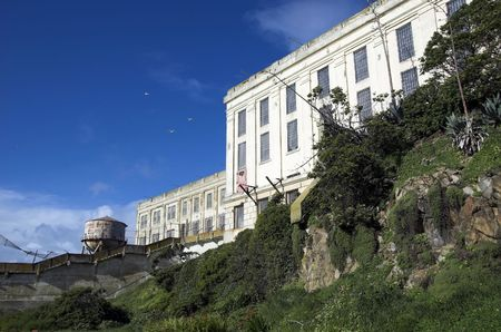 Ruins of Alcatraz prison on the rock in San Francisco. photo
