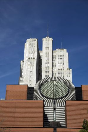 Detail of San  Francisco Muesum of Modern Art with skyscraper in background.