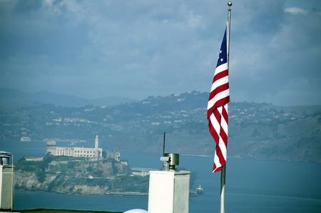 coit: View of San Francisco from Coit Tower area. Stock Photo