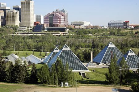 Summer view of a modern building (muttart conservatory) and its reflections, Edmonton, Alberta, Canada Stock Photo - 3113970
