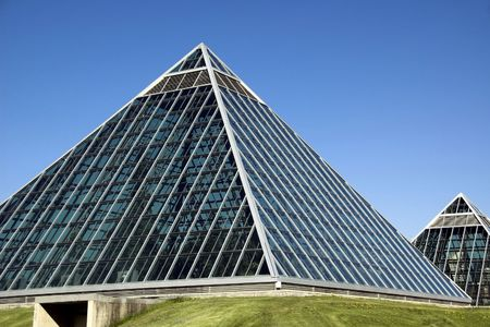 Summer view of a modern building (muttart conservatory) and its reflections, Edmonton, Alberta, Canada Stock Photo - 3113962