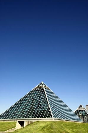 summer view of a modern building (muttart conservatory) and its reflections, Edmonton, Alberta, Canada Stock Photo - 3113941