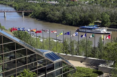 whitehorse: Canadian flags along the river valley in Edmonton