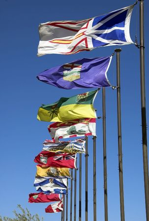 Canadian flags along the river valley in Edmonton photo