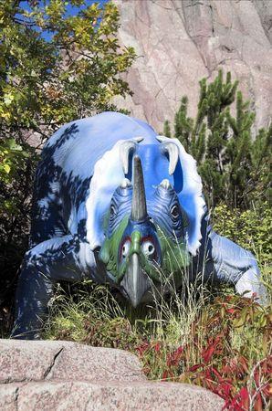 Artifical dinosaur at Calgary in ALberta.