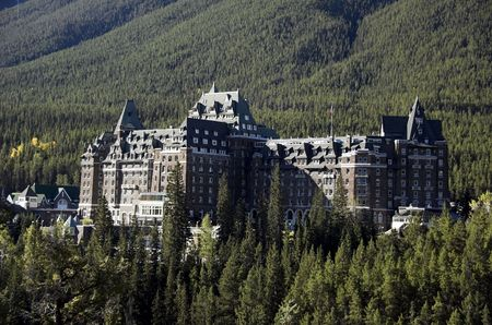 Banff Springs Hotel Banff National Park Alberta Canada built in 1887 at the site of a hot springs.