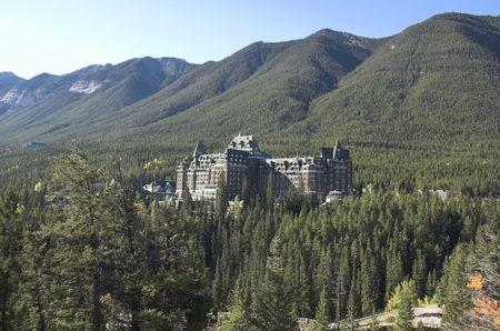 Banff Springs Hotel Banff National Park Alberta Canada built in 1887 at the site of a hot springs. photo