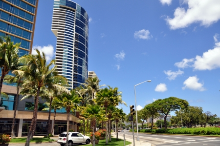 Beach front condos. Honolulu Stock Photo