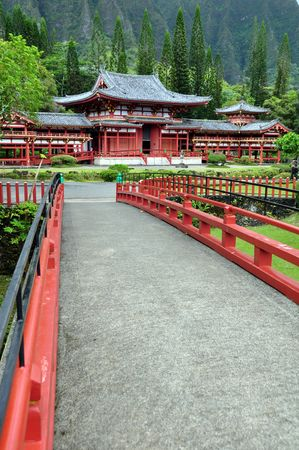 Byodo-In Buddhist temple, Valley of the Temples, Oahu, Hawaii photo
