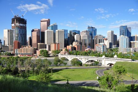 Calgary skyline with bow river in foreground