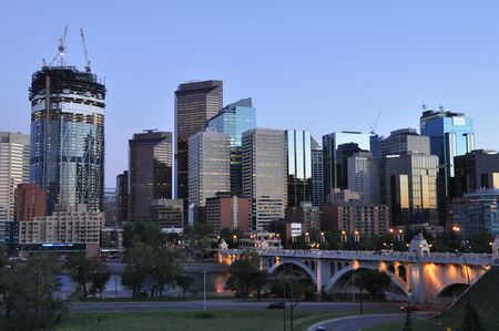 Calgary skyline at night photo